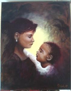Madona s dítětem 40x50 cm olej