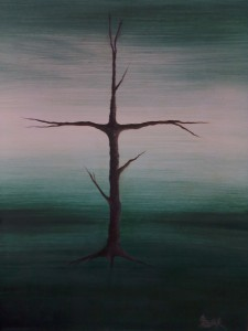 kříž 70x50 cm olej